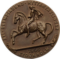 1956 Stockholm Summer Olympics Rare Equestrian Bronze Third-Place Medal
