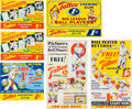 Baseball Cards:Other, 1933-34 Tattoo Orbit Gum Advertising Signs Collection (6) Promoting Cards and Pin Backs. ...