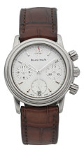 Timepieces:Wristwatch, Blancpain Leman Flyback Chronograph Mid-Size Stainless Steel Wristwatch. ...