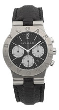 Timepieces:Wristwatch, Bulgari Diagono Stainless Steel Chronograph Ref. CH 35 S . ...
