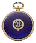Timepieces:Pocket (post 1900), Swiss Rare Gold & Enamel Ultra-Thin Hunters Case Minute Repeater, circa 1910. ...