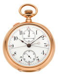 Timepieces:Wristwatch, Tiffany & Co. 18k Gold Split Seconds Chronograph Pocket Watch. ...