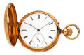 Timepieces:Pocket (post 1900), Swiss 18k Gold Quarter Hour Repeater, circa 1880's. ...