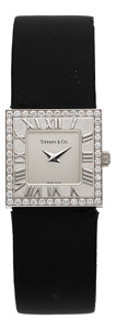 Timepieces:Wristwatch, Tiffany & Co. Atlas Diamond & 18k White Gold Lady'sWristwatch . ...