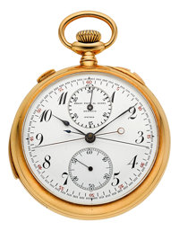 Audemars Piguet Minute Repeating Split Second 18K Gold Pocket Watch Retailed By Golay Fils & Stahl Circa 1908