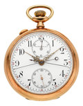 Timepieces:Pocket (post 1900), J.E. Caldwell & Co. 14K Gold Split Second Chronograph Pocket Watch . ...