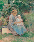 Fine Art - Painting, American:Modern  (1900 1949)  , Theodore Robinson (American, 1852-1896). Normandy Mother andChild (Marie Trognon and Baby), 1892. Oil on canvas. 22 x 1...