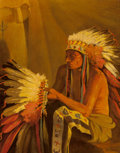Fine Art - Painting, American:Antique  (Pre 1900), Joseph Henry Sharp (American, 1859-1953). War Bonnet Maker.Oil on canvas. 20 x 16-1/4 inches (50.8 x 41.3 cm). Signed l...