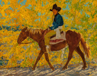 Walter Ufer (American, 1876-1936) A Ride in Autumn Oil on canvas 20 x 25 inches (50.8 x 63.5 cm)<