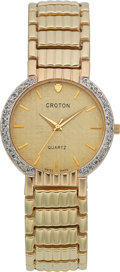 Timepieces:Wristwatch, Croton Gent's Gold Bracelet Watch With Diamonds. ...