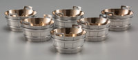 Six Tiffany & Co. Partial Gilt Silver Barrel-Form Salt Cellars, New York, New York, circa 1873-1891 Marks: TIFF...