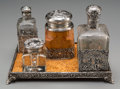 Silver Holloware, Continental, A Four-Piece German Silver, Glass and Burlwood Encrier Set with AnAmerican Silver and Glass Inkwell, early 20th century. Ma...(Total: 5 Items)