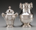 Silver Holloware, Continental:Holloware, An Emile Puiforcat Silver Mustard and Diminutive Vase with RamMotifs, Paris, France, late 19th century. Marks: (Minerva), ...(Total: 2 Items)