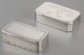 Silver Smalls:Snuff Boxes, Two Swedish Partial Gilt Silver Rectangular Snuff Boxes, circa1808. Marks to larger box: H (rubbed maker's mark), (thre...(Total: 2 Items)