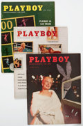Magazines:Miscellaneous, Playboy Group of 3 (HMH Publishing, 1957-58) Condition: AverageVF.... (Total: 3 Items)