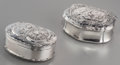 Silver Smalls:Snuff Boxes, A Swedish and A Continental Silver Snuff Boxes with AllegoricalScenes, circa 1800. Marks: (various marks). 2-5/8 inches wid...(Total: 2 Items)
