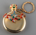 Silver Smalls:Vinaigrettes, An 18K Gold and Enameled Scent Flask in the Style of A.J. Strachan,19th century. 2 inches high (5.1 cm) (excluding chain). ...