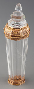 Silver Smalls:Vinaigrettes, A Louis Philippe 18K Gold Mounted Rock Crystal Scent Bottle, circa1840. Marks: (French guarantee mark). 3-1/4 inches high (...