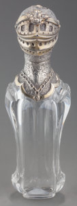 Silver Smalls:Vinaigrettes, A Continental Partial Gilt Silver Mounted Cut-Glass Scent Bottle,mid to late 19th century. 4-3/8 inches high (11.1 cm). ...
