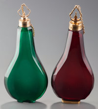 Two Louis XV Gold Mounted Colored Glass Scent Flasks, Paris, France, circa 1738-1744 Marks: (rubbed marks) 4-1/