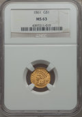 Gold Dollars: , 1861 G$1 MS63 NGC. NGC Census: (223/170). PCGS Population: (259/167). CDN: $650 Whsle. Bid for problem-free NGC/PCGS MS63. ...
