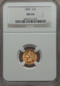 Gold Dollars: , 1888 G$1 MS64 NGC. NGC Census: (206/215). PCGS Population: (257/314). CDN: $800 Whsle. Bid for problem-free NGC/PCGS MS64. ...