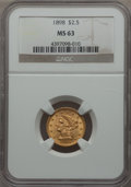 Liberty Quarter Eagles: , 1898 $2 1/2 MS63 NGC. NGC Census: (156/317). PCGS Population: (194/290). CDN: $560 Whsle. Bid for problem-free NGC/PCGS MS6...