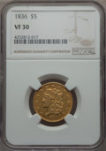 1836 $5 VF30 NGC. NGC Census: (43/1103). PCGS Population: (47/786). Mintage 553,147. From The Twelve Oaks Collection...(...