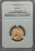1908 $5 MS62+ NGC. NGC Census: (2720/1917 and 10/40+). PCGS Population: (1886/2230 and 35/83+). CDN: $460 Whsle. Bid for...