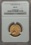 1908 $5 MS63 NGC. NGC Census: (1051/866). PCGS Population: (1225/1005). CDN: $950 Whsle. Bid for problem-free NGC/PCGS M...