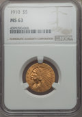 Indian Half Eagles: , 1910 $5 MS63 NGC. NGC Census: (1011/344). PCGS Population:(643/268). CDN: $950 Whsle. Bid for problem-free NGC/PCGS MS63. ...