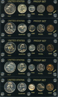 Proof Sets, Uncertified Proof Sets 1950 to 1955. The six proof sets include each of the five denominations (cent, nickel, dime, quarter,... (Total: 30 coins)