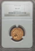 Indian Half Eagles: , 1914-D $5 MS60 NGC. NGC Census: (75/1762). PCGS Population: (43/1372). CDN: $500 Whsle. Bid for problem-free NGC/PCGS MS60....