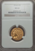 Indian Half Eagles: , 1914-D $5 MS62 NGC. NGC Census: (638/447). PCGS Population:(561/552). CDN: $900 Whsle. Bid for problem-free NGC/PCGS MS62....