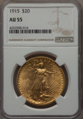 Saint-Gaudens Double Eagles: , 1915 $20 AU55 NGC. NGC Census: (33/2174). PCGS Population: (63/2055). Mintage 152,050. . From The Twelve Oaks Collecti...
