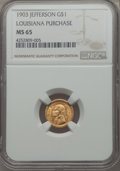 Commemorative Gold, 1903 G$1 Louisiana Purchase, Jefferson Gold Dollar MS65 NGC. NGCCensus: (466/467). PCGS Population: (741/691). CDN: $1,100...