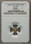 California Fractional Gold , 1864 25C Liberty Octagonal 25 Cents, BG-706, High R.5, MS63 NGC.NGC Census: (3/4). PCGS Population: (13/11). . From T...