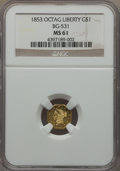 California Fractional Gold , 1853 $1 Liberty Octagonal 1 Dollar, BG-531, R.4, MS61 NGC. NGCCensus: (5/4). PCGS Population: (9/24). . From The Twel...