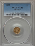 California Fractional Gold , 1853 $1 Liberty Octagonal 1 Dollar, BG-523, R.5, AU53 PCGS. PCGSPopulation: (3/21). NGC Census: (0/9). . From The Twe...