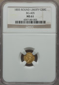 California Fractional Gold , 1855 50C Liberty Round 50 Cents, BG-405, R.5, MS61 NGC. NGC Census:(2/6). PCGS Population: (1/17). . From The Twelve ...
