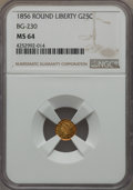 California Fractional Gold , 1856 25C Liberty Round 25 Cents, BG-230, Low R.4, MS64 NGC. NGCCensus: (3/5). PCGS Population: (23/3). . From The Twe...