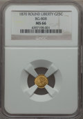 California Fractional Gold : , 1870 25C Liberty Round 25 Cents, BG-808, R.3, MS66 NGC. NGC Census:(5/5). PCGS Population: (16/4). . From The Twelve ...
