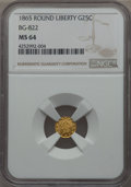 California Fractional Gold , 1865 25C Liberty Round 25 Cents, BG-822, R.4, MS64 NGC. NGC Census:(1/0). PCGS Population: (6/0). . From The Twelve O...
