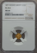 California Fractional Gold , 1871 25C Liberty Round 25 Cents, BG-864, R.5, MS64 NGC. NGC Census:(1/0). PCGS Population: (9/3). . From The Twelve O...
