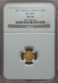 California Fractional Gold , 1871 50C Liberty Round 50 Cents, BG-1041, High R.6, AU58 NGC. NGCCensus: (2/3). PCGS Population: (1/7). . From The Tw...