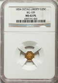 California Fractional Gold , 1854 25C Liberty Octagonal 25 Cents, BG-109, High R.5, MS62Prooflike NGC. NGC Census: (2/0). ...