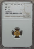 California Fractional Gold , 1869 50C Liberty Octagonal 50 Cents, BG-907, Low R.5, MS65 NGC. NGCCensus: (2/3). PCGS Population: (12/9). . From The...