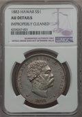 Coins of Hawaii , 1883 $1 Hawaii Dollar -- Improperly Cleaned -- NGC Details. AU. NGCCensus: (32/194). PCGS Population: (70/218). Mintage 4...