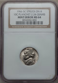Errors, 1966 5C Jefferson Nickel -- Struck on a Dime Planchet -- MS64 NGC. 2.24 gm....