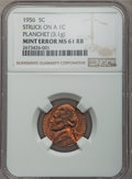 Errors, 1956 5C Jefferson Nickel -- Struck on a Cent Planchet -- MS61 Red and Brown NGC. 3.1 gm....